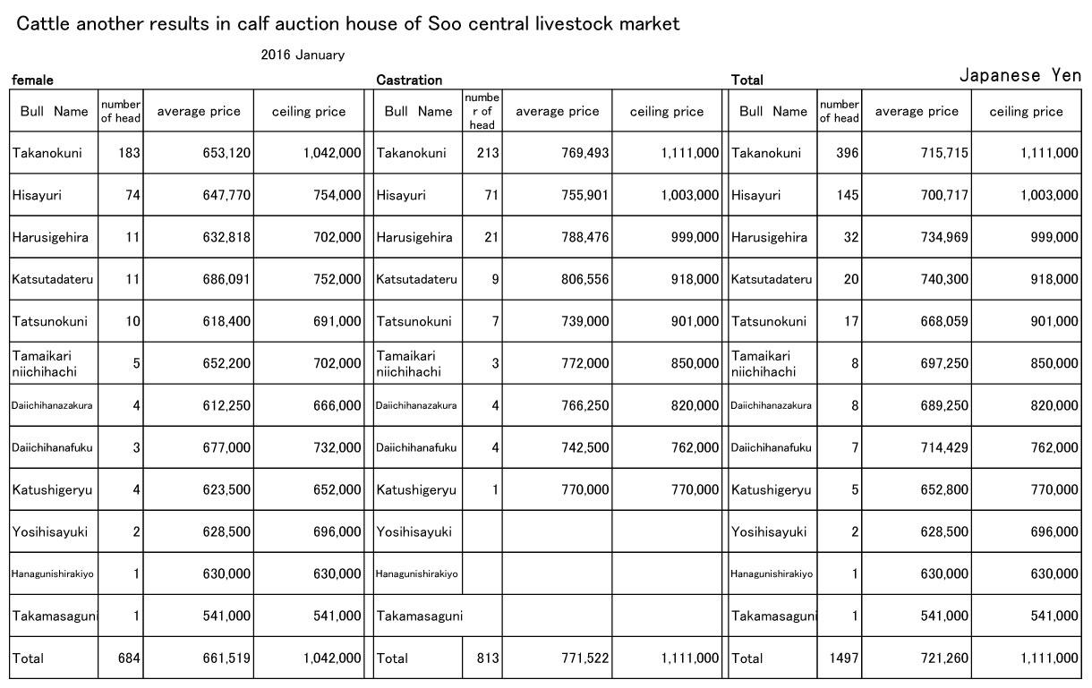 2016 January Soo central livestock market